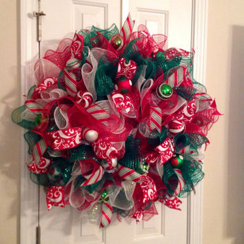 Christmas Red/White/Green Ruffle Deco Mesh Wreath