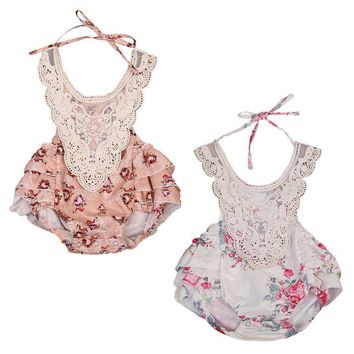 2017 New Cute Infant Baby Girl Floral Lace Romper Sleeveless Backless Ruffles Skirted Jumpsuit One Pieces Sunsuit Kids Clothes