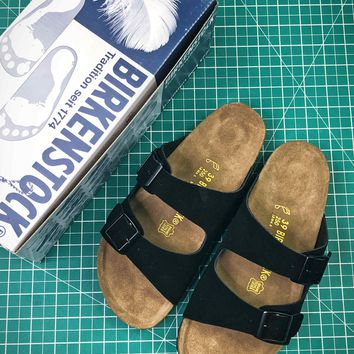 Birkenstock Arizona Soft Footbed Suede Leather Black Sandals - Best Online Sale