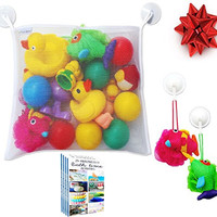 (50% Off) Bath Toy Organizer - Large Storage Bag for Bathtub Toys + 2 FREE Heavy Duty Suction Hooks + FREE Bathtime Activities Ebook, Making Bath Time Safe & Fun for Baby Boys and Girls