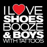 I LOVE SHOES, BOOZE AND BOYS WITH TATOOS T-SHIRT(WHITE INK)