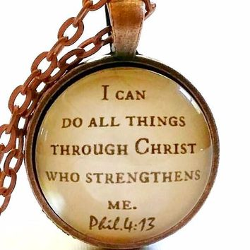 Bible Verse Necklace | I Can Do all Things | Scripture Verse Gift | Philippians 4:13