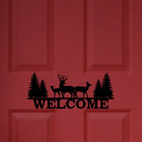 Welcome Front Door Decal / Cabin Front Door Decal / Deer Front Door Decal / Vinyl Front Door Decal
