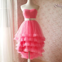 Coral Pink Bridesmaid Dress- Strapless High Low Long Dress - Princess Dress -Tulle Skirt Tutu Skirt -Wedding Party Dress- Coral Dress 2015