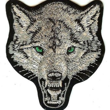 Wolf Head Iron-On Patch Green Eyes