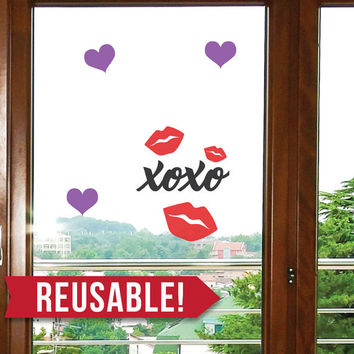 REUSABLE - Window Cling - Valentines Day - Valentines - Valentines Day Decor - xoxo - lips - Valentines Day Party - Classroom Decorations