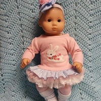 "15 inch Baby Doll Clothes ""Snow Bunny"" doll outfit Will fit Bitty Baby® Bitty Twins®  dress capri leggings socks headband J4a"
