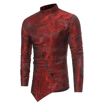 Men's Brocade Paisley Asymmetrical Hem Fashion Shirt