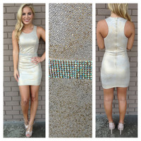 Gold Sleeveless Crystal Belt Villa Dress