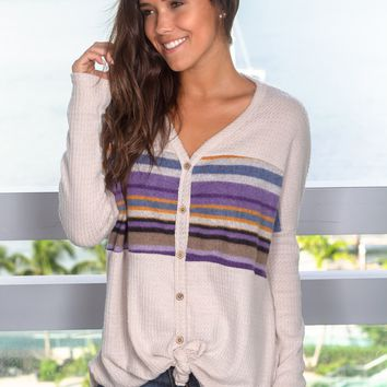 Beige Oversized Sweater with Striped Detail