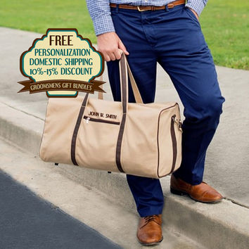 10% OFF-Personalized Canvas/ PU Leather Groomsmen Duffle Bag Bundles Sold In Bundles of 4, 5,and 6 Free Shipping and Free Monogramming
