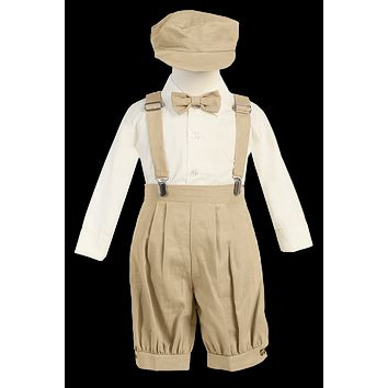 Khaki Tan Linen Blend Suspender Knicker Shorts Set 3M-4T