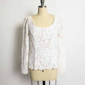 Vintage 1960s Blouse - White Lace  Fitted Top 55s - Medium