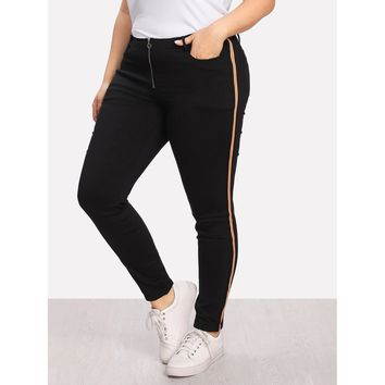 Striped Side Exposed Zip Fly Pants