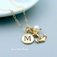 Anchor Necklace 24K GOLD Initial Pearl Personalized Jewelry Navy - Vivian Feiler Designs | Wedding