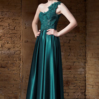Dark Green Satin Lace Formal Prom Beauty Pageant Evening Dress | CX82190