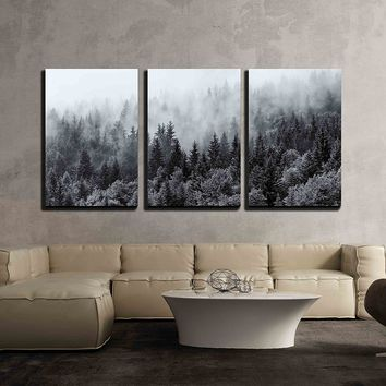 """wall26 - 3 Piece Canvas Wall Art - Misty Forests of Evergreen Coniferous Trees in an Ethereal Landscape - Modern Home Decor Stretched and Framed Ready to Hang - 16""""x24""""x3 Panels"""