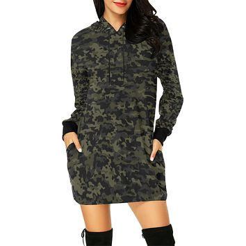 Camo Hoodie Hoodie Mini Dress
