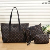 LV Tide brand classic printing men's shopping bag shoulder bag Messenger bag three-piece
