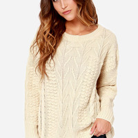 Mink Pink Word Play Cream Sweater