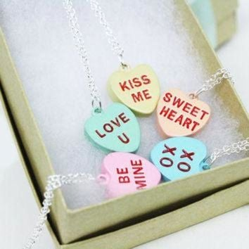 DCCKHD9 Conversation Heart Necklace / Candy Hearts / Valentine's Day Jewelry / Sterling Silver