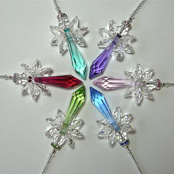 "CHOOSE YOUR COLOR - Swarovski Crystal Suncatcher, ""Faith Angel"" -  For Your Home Window or Car Rearview Mirror, Guardian Angel, 6 Inches"