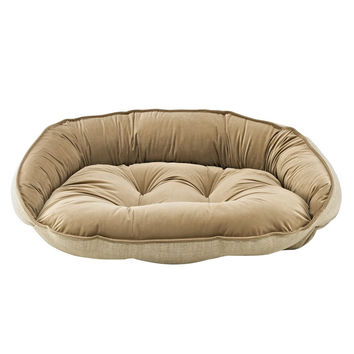 Crescent Bolstered Dog Bed — Flax MicroLinen / Toffee MicroVelvet