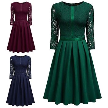 Floral Lace Pleated Dress, US Sizes 0 - 20