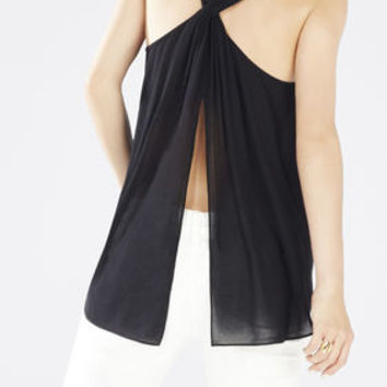 Black BCBG Women's Jenina Draped Racerback Top