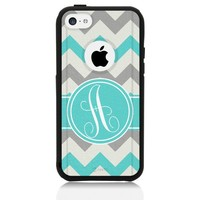 iPhone 5c Case [Black] Chevron Monogram Grey Teal [Dual Layer] Unnito1 Year Warranty Case Protective [Custom] Commuter Protection Cover [Hybrid]
