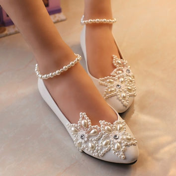 Flat Sweet Pearl Ankle Chain Pearl Flower White Princess Birdal Wedding Party Shoes = 1932784836