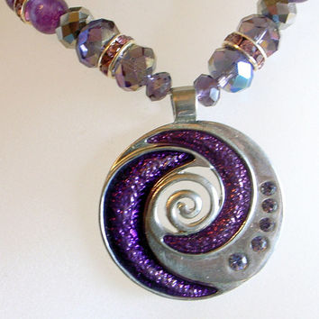Purple Silver Swirl Necklace With Abstract Modernist Vintage Pendant - Jade - Crystals - Rhinestones - 22 Inches Long Or 56cm