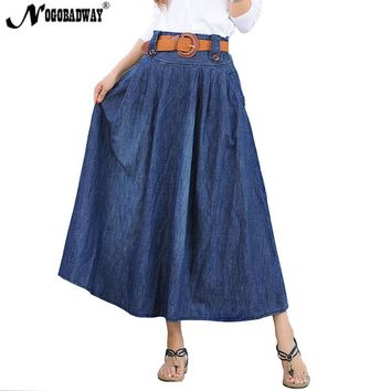 High waist denim skirts women long jeans skirt autumn summer long maxi skirts casual vintage bottom american apparel 2018 new