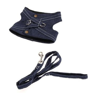Vest harness and leash set Cool in Jeans