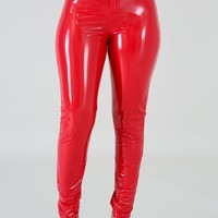 Red Wet Look Vegan Leather Pant