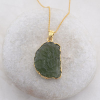 Green Moldavite Fancy 22x30mm - Wholesale Handmade Pendant Necklace - Micron Gold Plated 925 Sterling Silver Necklace #4997