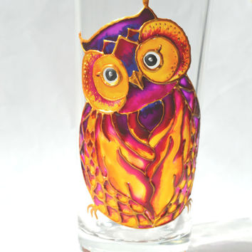 Hand Painted Summer Wine Glass - Unique Artistic Gift - Dinner - Parties