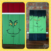 Reversible Frankenstein/Grinch Decoration - Fall Scarecrow Decor - Christmas Snowman Decor - Frankenstein and Grinch Wood Sign - Porch Decor