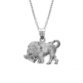 "sterling silver bull pendant on an 18"" silver cable chain. animal jewelry"