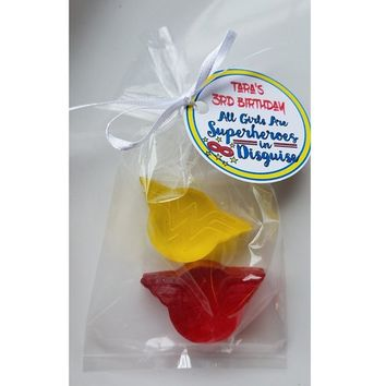 Wonder Woman Birthday Party Favors with Personalized Tags & Bags - Custom Made Super Hero Soap Party Favors Pack of 10