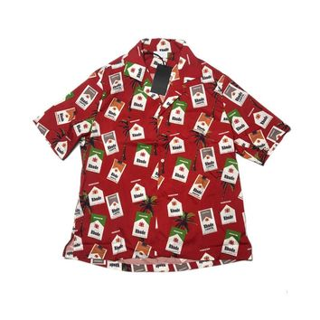 Rhude 18ss men women fashion shirt kanye west tops hip hop harajuku streetwear summer justin bieber print shirts hawaiian shirt