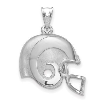 Sterling Silver Los Angeles Rams Football Helmet Logo Pendant