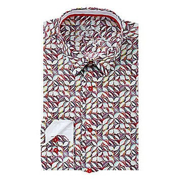 Visconti Abstract Floral Print Long-Sleeve Woven Shirt - White
