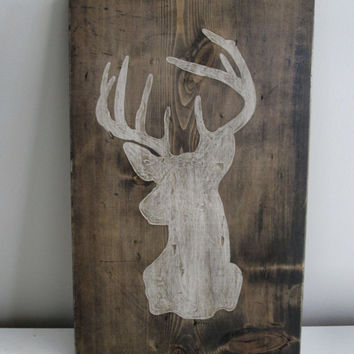 Wood Art - Stag, Buck, Deer Silhouette  - Painting (Gift for Dad, Husband, Brother)