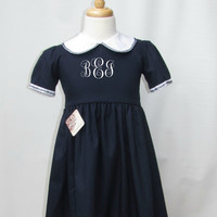 personalized fall dresses toddlers and girls, navy blue  dress girls toddlers, twin matching dress  FREE Personalization 2T,3T,4T,5T