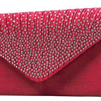 HONEYJOY Womens Evening Bag Envelope Satin Rhinestone Frosted Handbags Wedding Party Bridal Clutch Purse