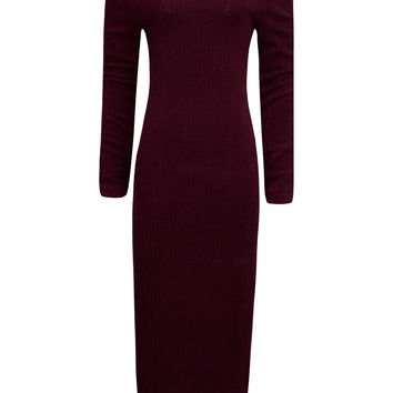 Burgundy Off Shoulder Long Sleeve Ribbed Bodycon Midi Dress