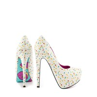 Glazed - pink donuts printed stiletto pumps