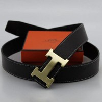 Hermes Trending Woman Men Smooth Buckle Leather Belt I