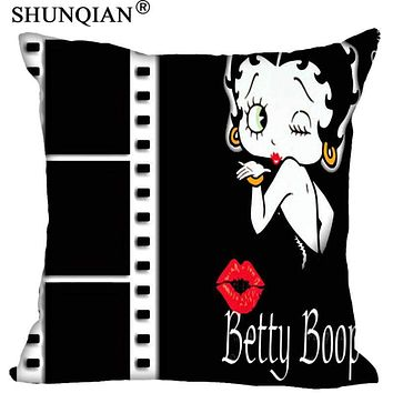 Hot Sale New Custom Betty Boop Square Pillowcases zipper Fashion Custom Pillow Case Cover Decorative